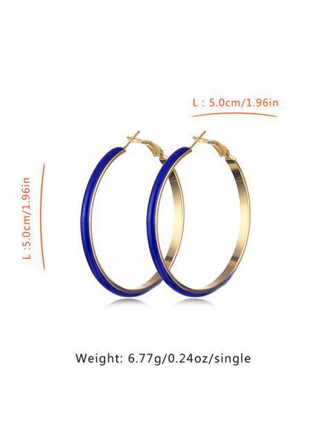 women Colored Glazed Hoop Earrings - BLUEBERRY BLUE  Mobile
