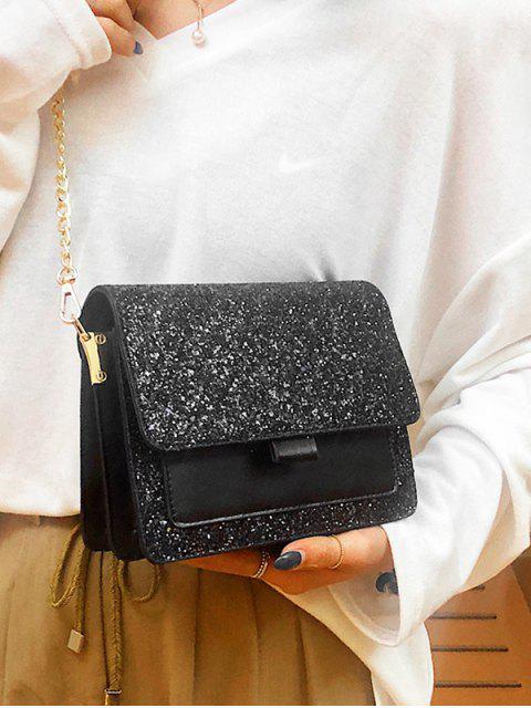 affordable Sequins PU Chain Sparkle Square Crossbody Bag - BLACK  Mobile