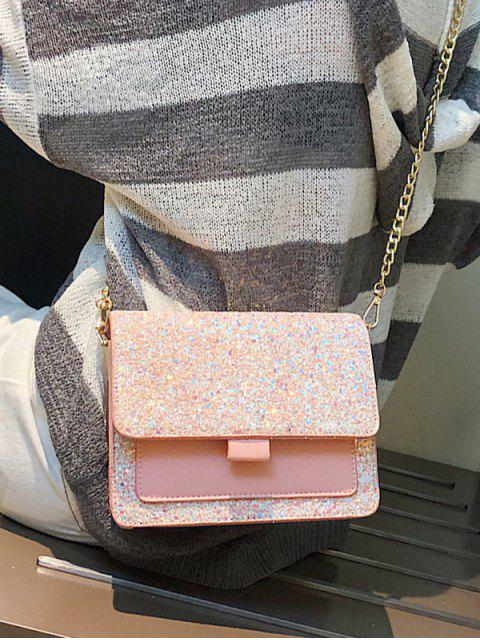 fancy Sequins PU Chain Sparkle Square Crossbody Bag - LIGHT PINK  Mobile