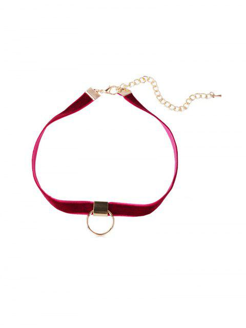 outfit Circle Velvet Choker Necklace - RED WINE  Mobile
