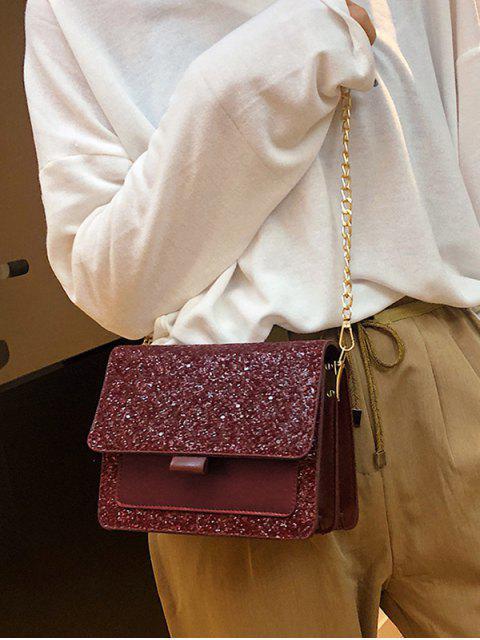 shops Sequins PU Chain Sparkle Square Crossbody Bag - FIREBRICK  Mobile