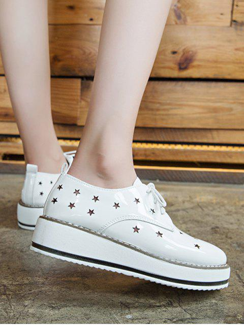 best Hollowed Star Breathable Shoes - WHITE EU 38 Mobile