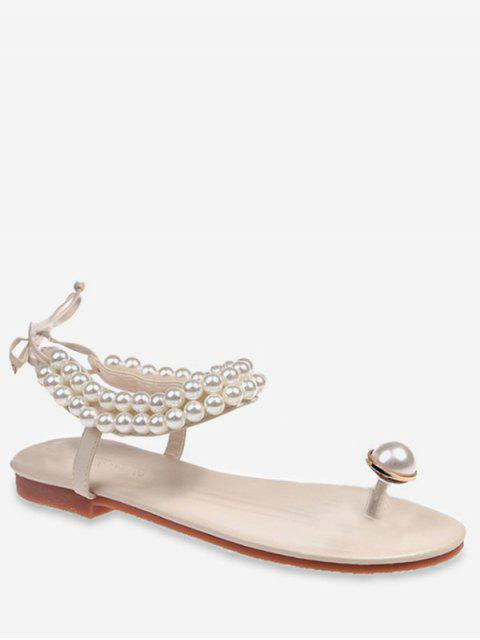 outfits Toe Loop Faux Pearl Flat Sandals - BEIGE EU 35 Mobile