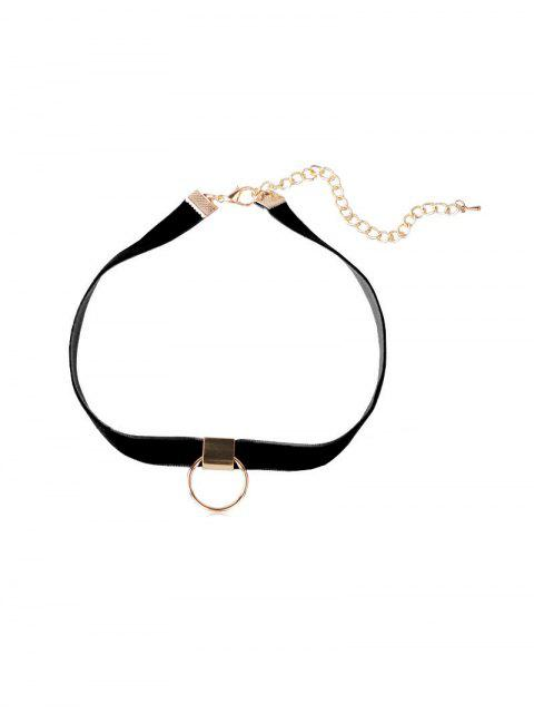 outfits Circle Velvet Choker Necklace - BLACK  Mobile