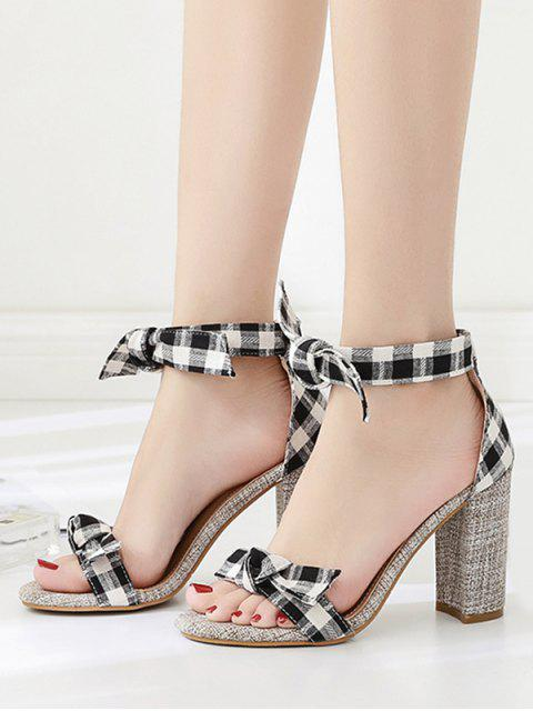 shop Bow Strap Plaid Chunky Heel Sandals - BLACK EU 36 Mobile