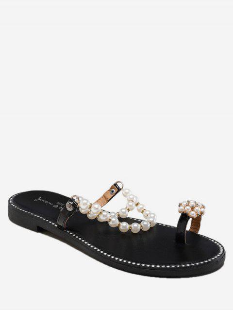 trendy Sweet Toe Loop Faux Pearl Flat Slides - BLACK EU 36 Mobile