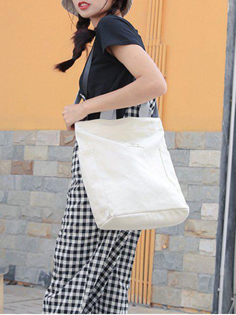 shops Brief Letter Canvas Shoulder Bag - WHITE  Mobile