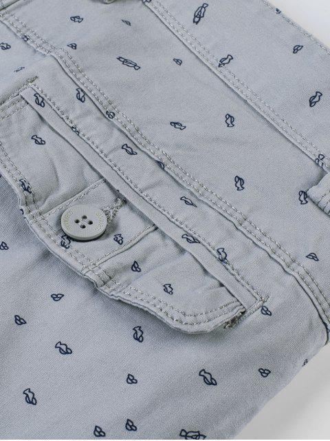 Shorts con estampado minúsculo y cremallera con mosca - Gris Azulado 36 Mobile