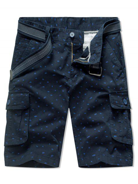 best Tiny Pattern Print Zipper Fly Shorts - LAPIS BLUE 38 Mobile
