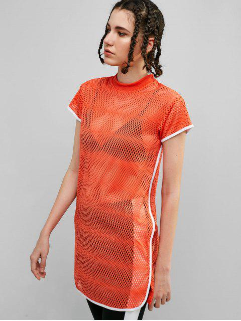 buy Perforated Contrast Piping Slit T-shirt - DARK ORANGE XL Mobile