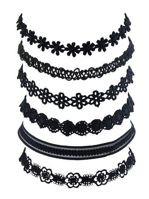 chic 6 Piece Floral Lace Choker Necklace Set - BLACK  Mobile