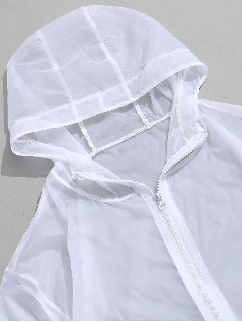 lady Solid Color See-through Hooded Anti Sun Jacket - WHITE M Mobile