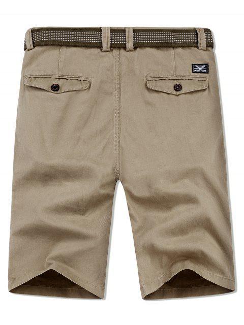 ladies Applique Solid Color Casual Shorts - PEACH 38 Mobile