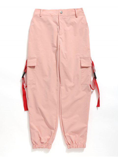 ZAFUL Buckle Pockets Zipper Fly cargo pantalones - Rosado M Mobile