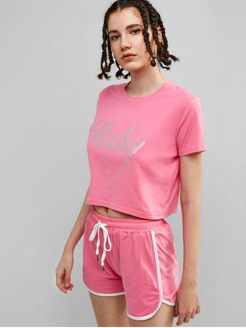 ZAFUL Baby Graphic Ringer Shorts Set - Rosado S Mobile
