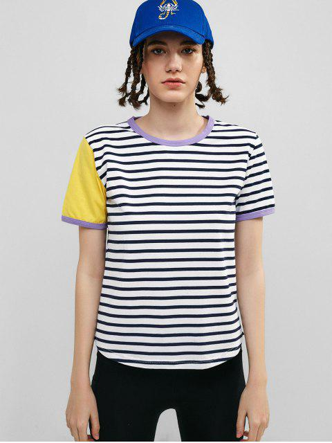 ZAFUL camiseta de ringer a rayas - Multicolor-A S Mobile