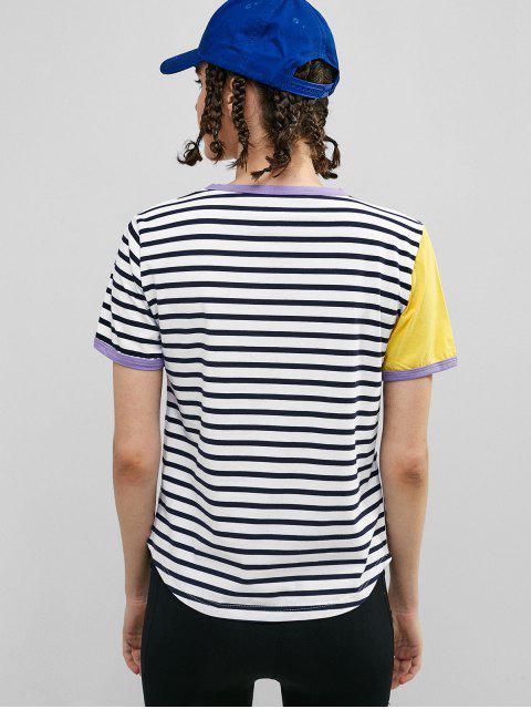 ZAFUL camiseta de ringer a rayas - Multicolor-A L Mobile