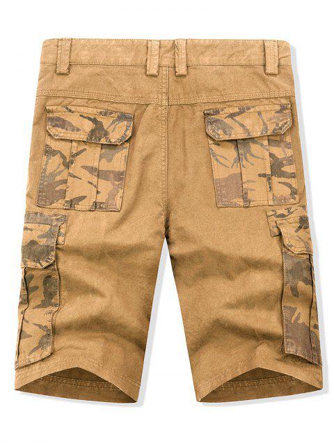 Pantalones cortos de carga con estampado de camuflaje y cremallera. - Vara de Oro 38 Mobile