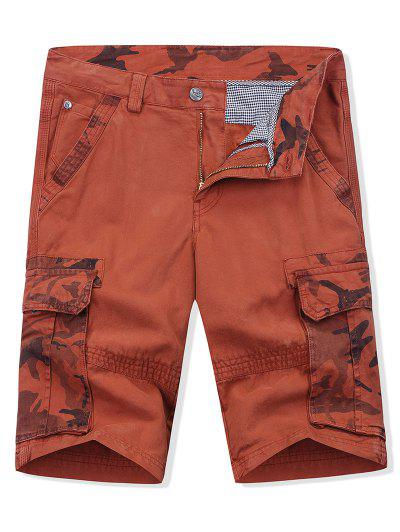 1caa04cd74 Camouflage Printed Zipper Fly Cargo Shorts - Cherry Red 36 ...