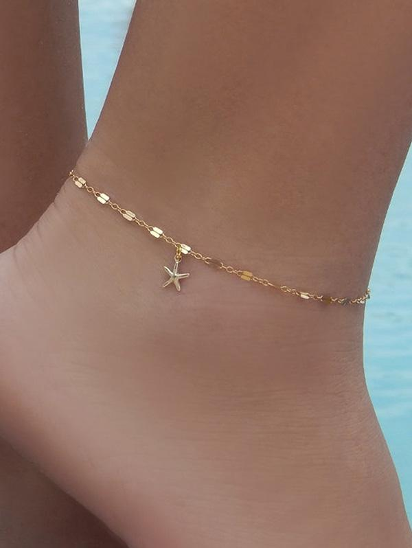 Brief Starfish Small Pendant Anklet