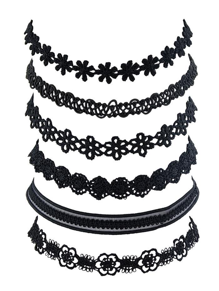 6 Piece Floral Lace Choker Necklace Set