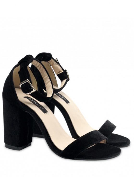 unique Block Heel Velvet Ankle Strap Sandals - BLACK 39