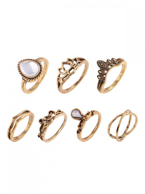 sale Teardrop Leaf Flower Gypsy Ring Set - GOLDEN