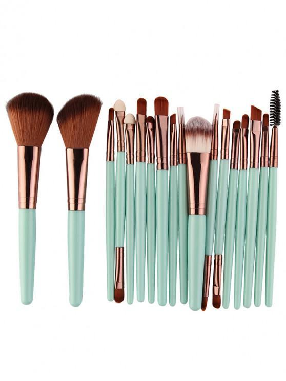 online 18Pcs Multifunctional Facial Makeup Brushes Set - GREEN + BROWN