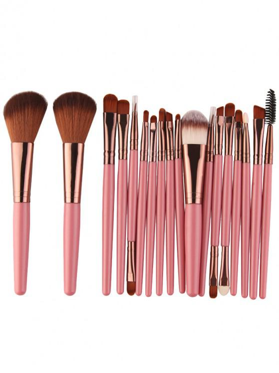 hot 18Pcs Multifunctional Facial Makeup Brushes Set - PINKISH BROWN