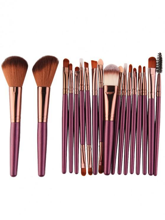 Conjunto Multifuncional Cepillos Maquillaje 18 Piezas - pardusco púrpura