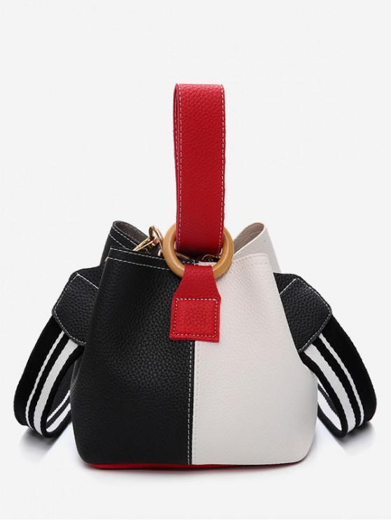 new Color Block Stripe Hand Bag - BLACK