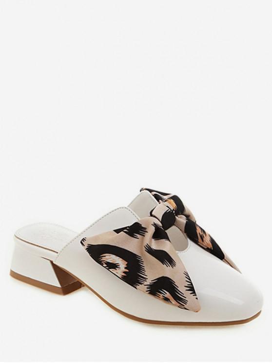 women's Closed Toe Leopard Bow Chunky Heel Slides - BEIGE EU 34