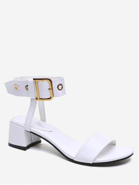 new Belt Buckle Chunky Heel Sandals - WHITE EU 35