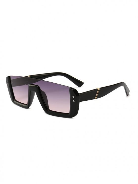 shop Retro Semi-rimless Stylish Sunglasses - BLACK