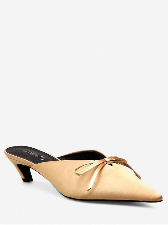 buy Pointed Toe Bow Mid Heel Slides - BEIGE EU 35