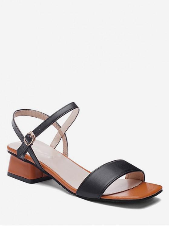 ladies Open Toe Two Tone Sandals - BLACK EU 34