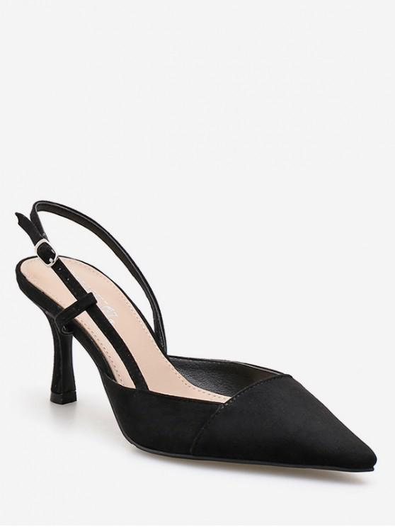 affordable Pointed Toe High Heel Slingback Sandals - BLACK EU 37