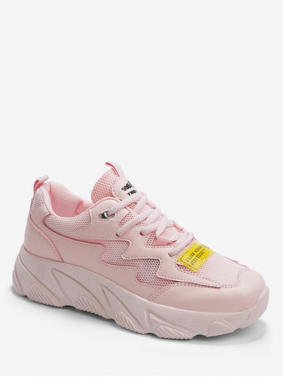 women Letter Print Mesh Trim Sport Sneakers - PINK EU 40