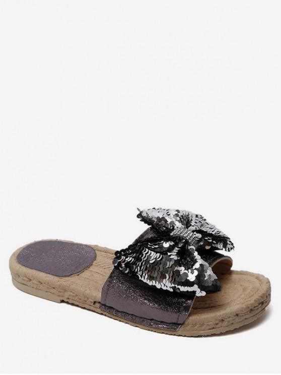 online Sequined Bow Flat Slippers - GUNMETAL EU 36