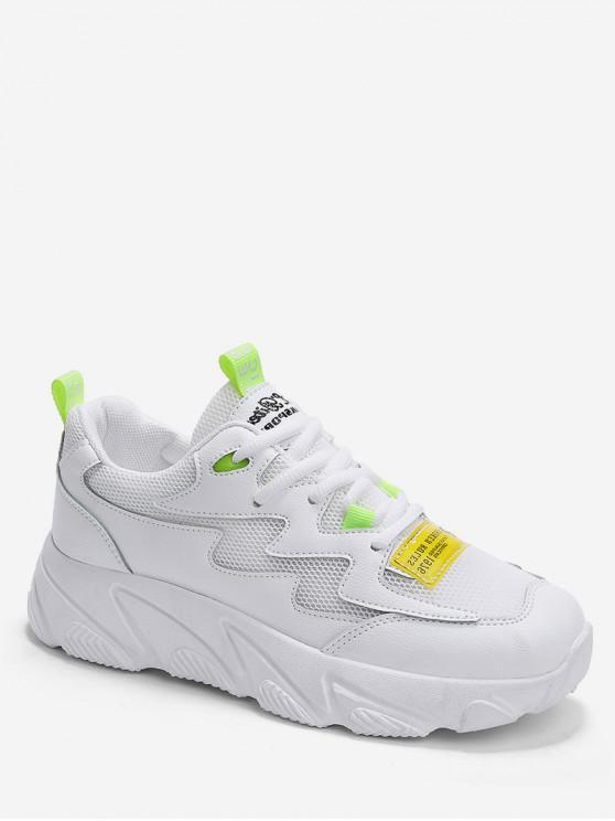 latest Letter Print Mesh Trim Sport Sneakers - WHITE EU 40