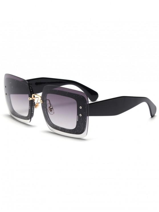 fashion Translucence Design Square Sunglasses - BLACK