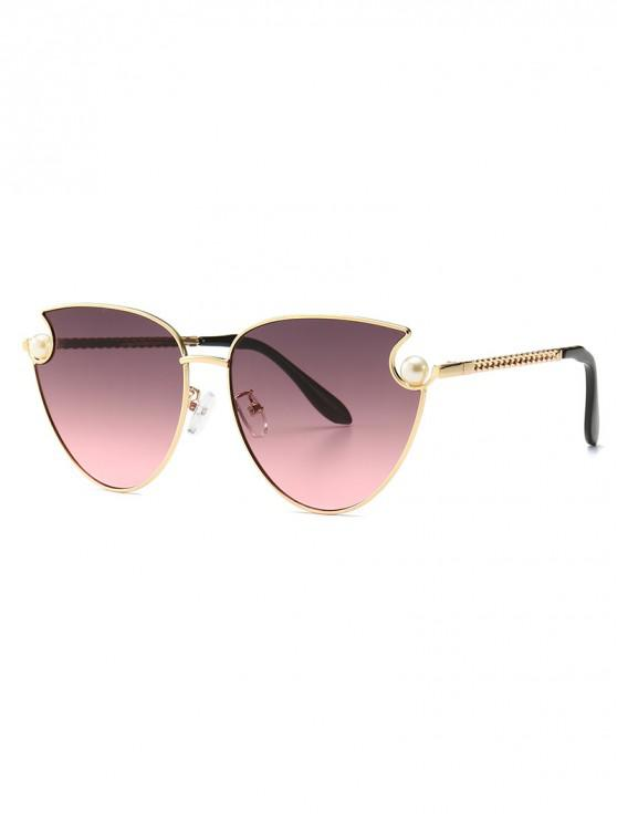 buy Faux Pearl Metal Sunglasses - RED WINE