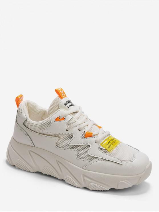 ladies Letter Print Mesh Trim Sport Sneakers - WARM WHITE EU 37