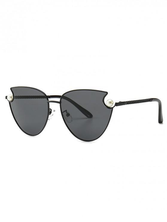 online Faux Pearl Metal Sunglasses - BLACK