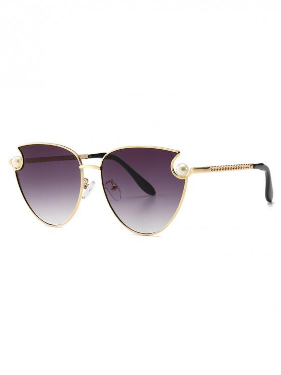 outfits Faux Pearl Metal Sunglasses - GRAY