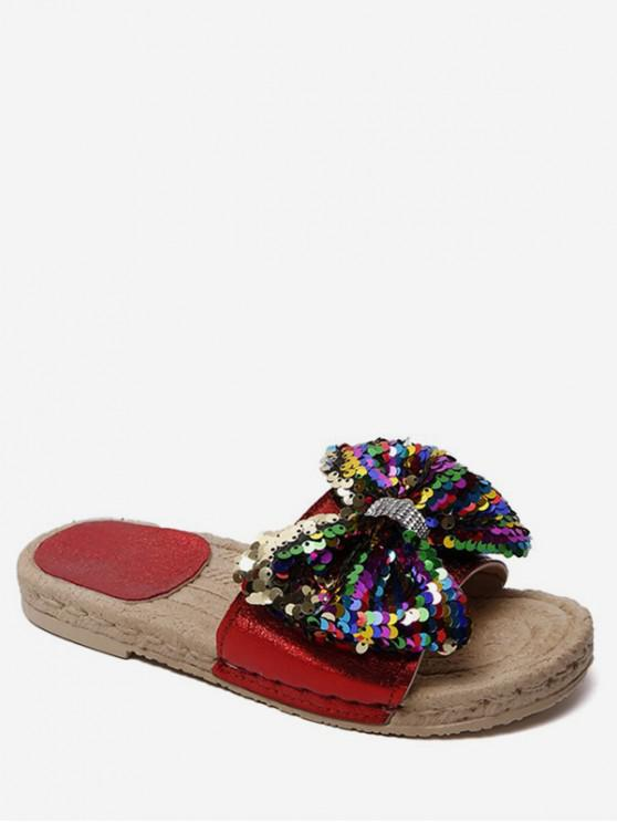 chic Sequined Bow Flat Slippers - CHESTNUT RED EU 39