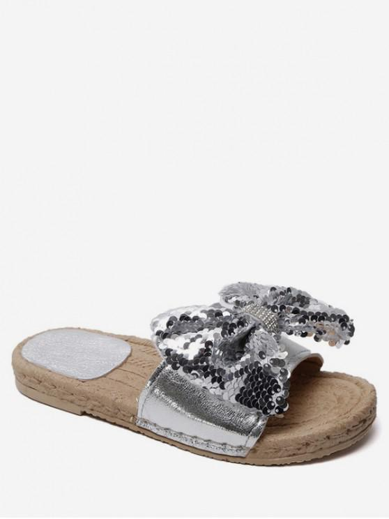 fancy Sequined Bow Flat Slippers - SILVER EU 37