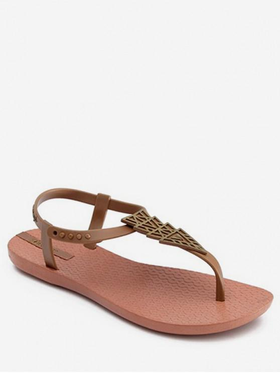 ladies Bohemian Geometric Flat Thong Sandals - LIGHT BROWN EU 39