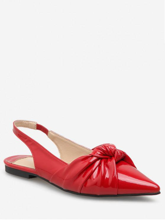 latest Ankle Strap Pointed Toe Flat Sandals - RED EU 35