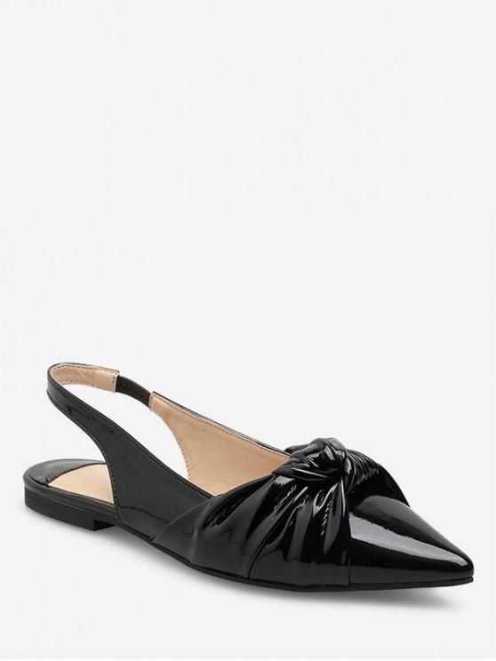 women Ankle Strap Pointed Toe Flat Sandals - BLACK EU 38